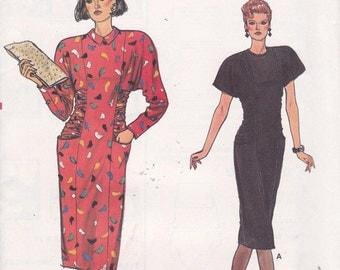 Vogue 9346 sizes 6 8 10 Dress gathered draped ruched waist Uncut sewing pattern 1980