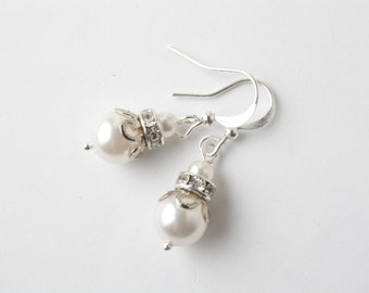 Bridesmaid jewelry - bridesmaid earrings - Swarovski pearl and crystal - white earrings - silver wire - white wedding - wedding jewelry