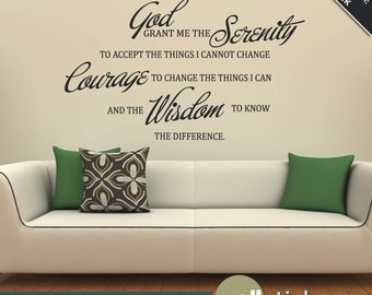 Serenity Prayer Quote Wall Decal Vinyl Wall Quote Living Room Bedroom Decor - Wall Decor - WD0226