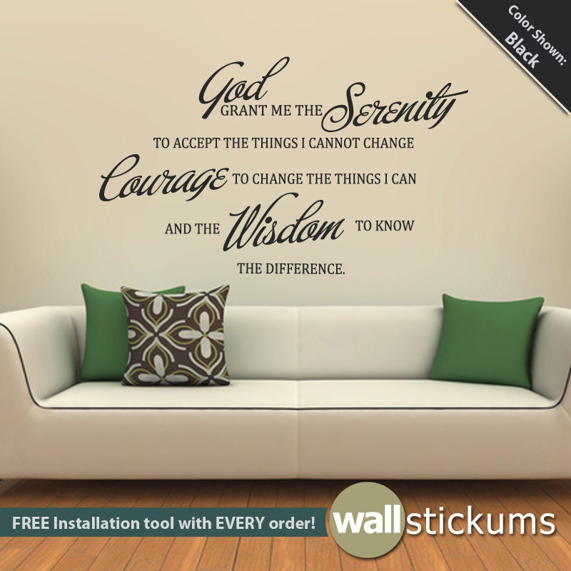 Serenity prayer quote wall decal vinyl wall quote living room for Living room quote stickers