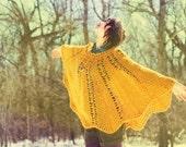 Vintage 1970s Handmade Crochet Cape - Mustard Yellow - Size (ALL)