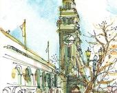 Ferry Building Sketch San Francisco sketch california art print from an original watercolor sketch - 8x10 inches