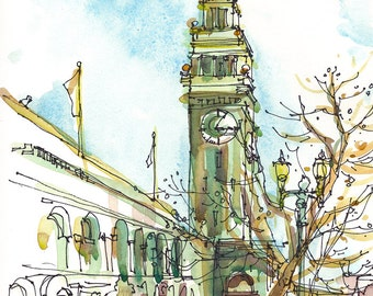 Ferry Building Sketch San Francisco sketch california art print from an original watercolor sketch - 8x10 inches