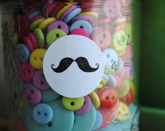 60 Mustache Seals/Stickers - kraft or white