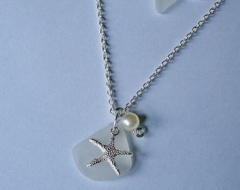Sea glass necklace. Starfish beach glass sea glass jewelry.