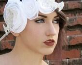 "the ""Snow Bat"" head piece - OOAK Halloween, wedding, goth, flapper"