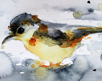 Yellow Bird in Rain Watercolor Print, Original Bird Art Print