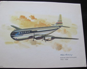 Vintage United Airlines Print Poster - Boeing Stratocruiser - Galloway
