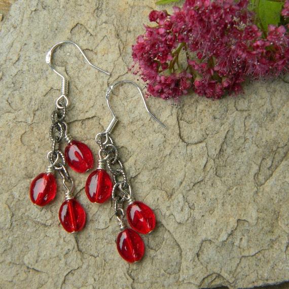 Red earrings beaded jewelry dangle handmade earrings red glass earrings nature inspired
