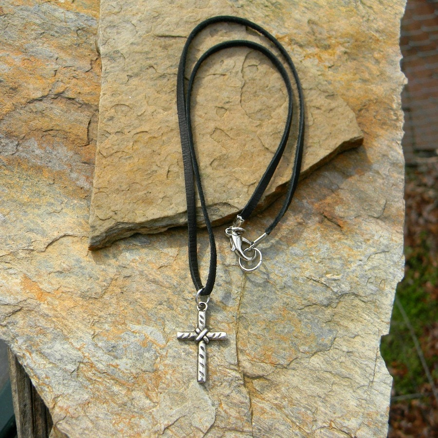 Leather Cord Necklace Cross Necklace Simple Rustic Mens Cord