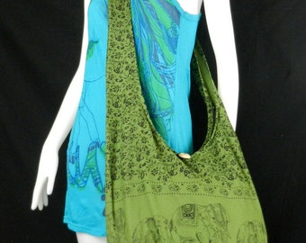 Hippie Hobo Cotton Sling Crossbody Bag Messenger Purse Elephant Floral Large in Green EL4