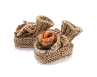 Knitted Baby Booties with Crochet Flower - Brown, 3 - 6 months