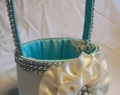 Aqua Blue, Flower Girl Basket with Ivory Satin Flower & Rhinestone Mesh handle and Trim, Bling Wedding Basket, Robin Egg Blue Flower Girl