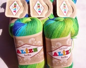Pure Cotton Baby  Yarn: Light Weight, Alize Bella Batik Design in blue and green. col. 4150 SALE DSH(P1)