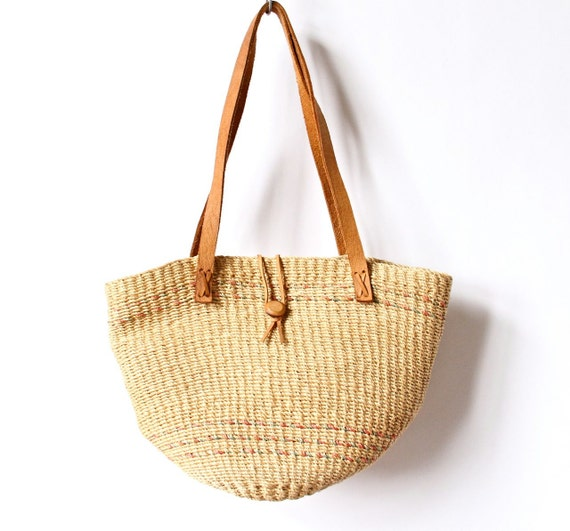 80s Rope Basket Bag Woven Oversized Beach Tote Purse boho