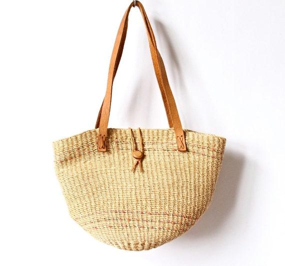 80s Rope Basket Bag Woven Oversized Beach Tote Purse boho