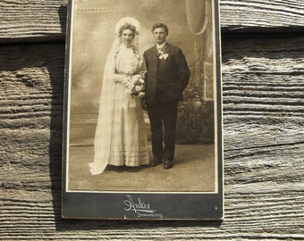 Wedding Photograph Cabinet Card from the early 1900's Shawano, Wisconsin