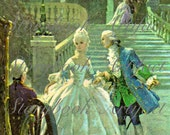 Rare 1800's Digital Art Print - Royal Countess Cinderella in White Ball Gown at Coachman with Prince Charming - from Antique Lithograph