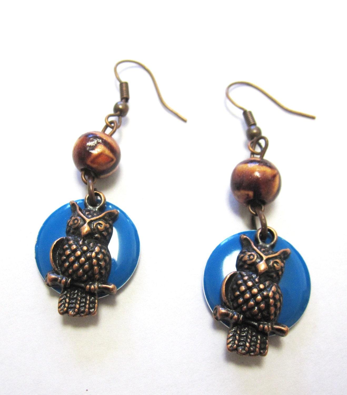 owl earrings bird jewelry blue enamel wood by sweetie2sweetie