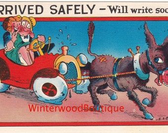Arrived Safely - Will Write Soon  Vintage Linen Post Card E. L White
