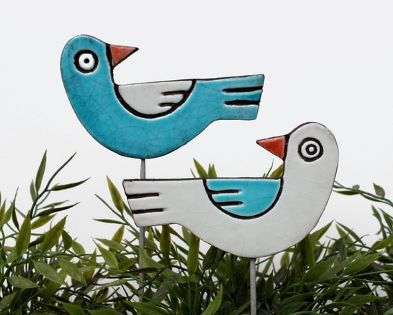 birds garden art - plant stakes - garden markers - garden decor - bird ornament - ceramic birds - love birds - turquoise & white