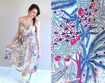 vtg 70s colorful BOTANICAL PRINT pockets Sun DRESS boho Medium full skirt hippie