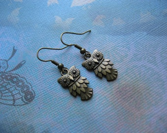 Clearance Sale Owl Earrings - Antiqued Bronze, Textured Owl Charms, jingsbeadingworld inspired by nature, for her gift under 10