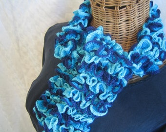 Girls knitted Ruffle Blue Turquoise Aqua Mix scarf frilly for girls kids child size teens women Celebi Feza Lule