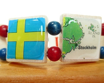 Scandinavian Flag Bracelet  with Maps and Flags from Denmark, Sweden, Norway and Finland
