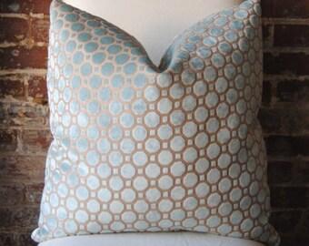 Velvet Geo - Mineral - Robert Allen - 22 in square - Designer Pillow - Decorative Pillow - Throw Pillow