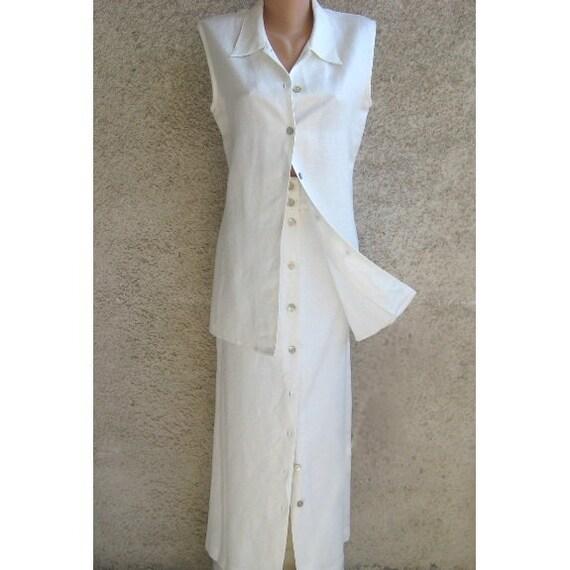 Sale 20 Off Linen White Suit Two Piece Pencil Maxi Skirt Vest