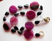 Pink on black handmade necklace 291