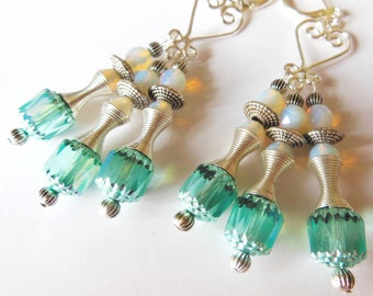 Teal on silver chandelier earrings  E370