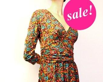 V-neck dress, SALE,retro 40s inspired dress, floral dress,printed dress, 3/4 sleeve dress, spring dress, orange dress
