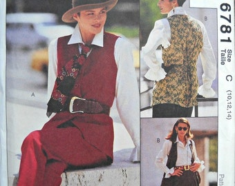 McCall's 6781, Women's Vest, Blouse, Skirt, Pants, and Ascot Pattern, Sizes 10, 12, 14