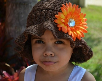 Crochet Pattern for Starlight Sun Hat - Floppy Brim hat - 7 sizes, baby to large adult - Welcome to sell finished items
