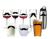 15 Mustache Vinyl Decals - variety pack- beer glass, wine glass, water bottle, coffee mug, laptop
