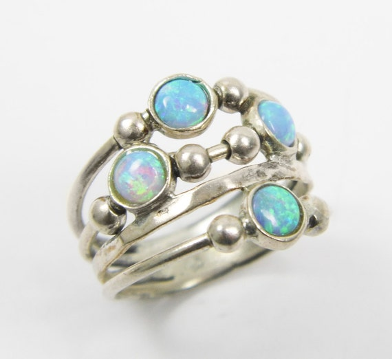 Opal Ring. Spheres Sterling Silver Ring Birthday Gift By