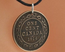 COIN NECKLACE CANADA. Canadian penny jewelry. antique 1900 one  cent  . Choose Year.  eco-friendly  No.001298