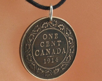 Antique Canadian Coin Pendant. Canada penny jewelry. 1900  . Choose Year. No.001298