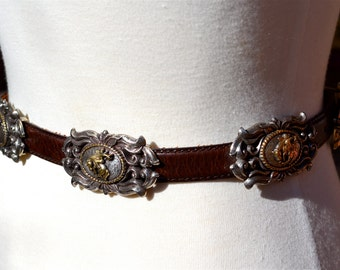 vtg WESTERN Leather and Silver Plated Ornate Buckled Belt xs