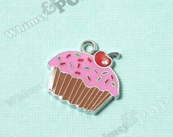 1 - Chocolate Pink Cupcake Enamel and Crystal Kawaii Foodie Charm, Cupcake Charm, 18mm x 20mm (2-3F)