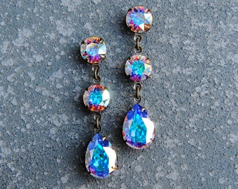 Aurora Borealis Northern Lights Swarovski Crystal Rainbow Rhinestone Dangle Post Earrings Petite Fiesta Mashugana