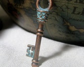 Blue Patina Antique Copper Key Charms Alloy lead and nickel free, 36mm 4 pieces