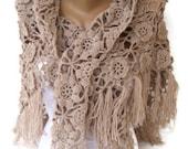 Beige Crochet Shawl / Bridal Shawl / Wedding Shawl / Bridal Shrug / Winter Wedding / Bridal Bolero / Bridal Cover Up / Winter Accessories