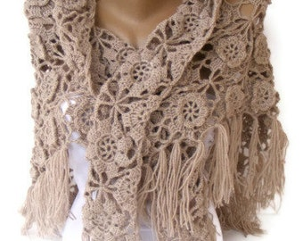 Beige Crochet Shawl / Bridal Shawl / Wedding Shawl / Bridal Shrug / Winter Wedding / Bridal Bolero / Bridal Cover Up / Winter Accessories