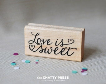 Love Is Sweet rubber stamp - wedding favor stamp DIY