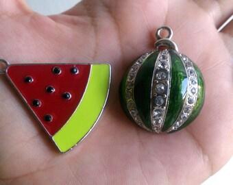 Cute Green Rhinestone Watermelon Charms 2pcs