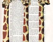 3 royal girafes - ORIGINAL ARTWORK  Mixed Media, Hand Painted on 1920 famous Parisien Magazine 'La Petit Illustration' xyz