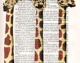 3 royal girafes - ORIGINAL ARTWORK  Mixed Media, Hand Painted on 1920 famous Parisien Magazine 'La Petit Illustration' xyz